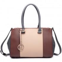 LM1643 - Miss Lulu Sutton Center Stripe Satchel Handbag brown