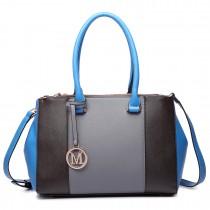 LM1643 - Miss Lulu Sutton Center Stripe Satchel Handbag gray