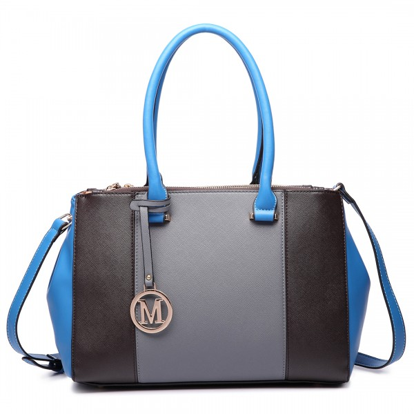 LM1643 - Miss Lulu Sutton Center Stripe Satchel Handbag Grey