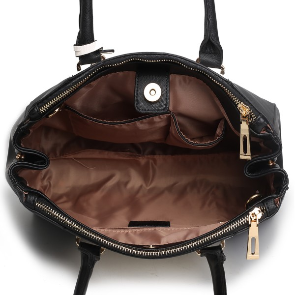 LM1643 - Miss Lulu Sutton Center Stripe Satchel Handbag Black