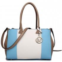 LM1643 - Miss Lulu Sutton Center Stripe Satchel Handbag Blue