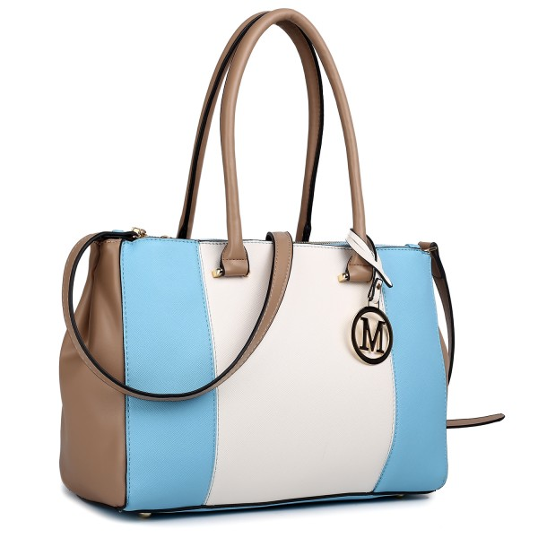 LM1643 - Miss Lulu Sutton Center Stripe Satchel Handbag Blue
