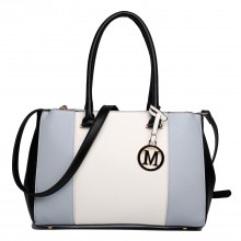 LM1643 - Miss Lulu Sutton Center Stripe Satchel Handbag Light Grey