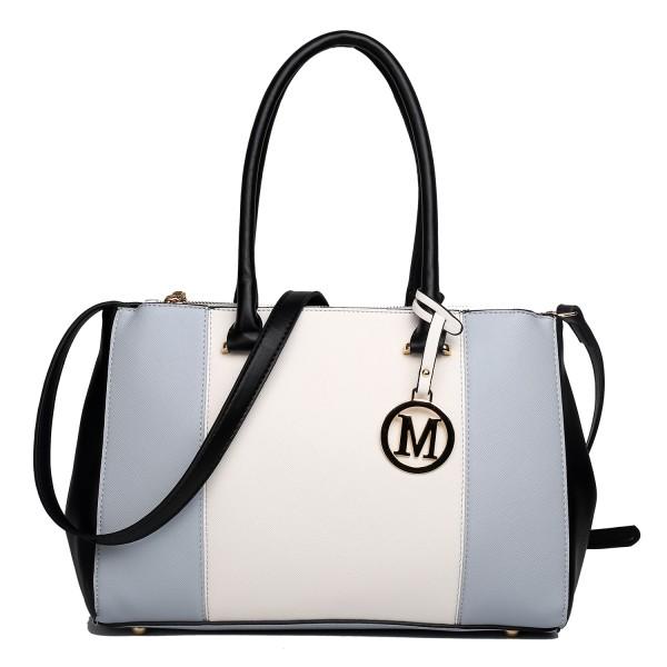 LM1643 - Miss Lulu Sutton Center Stripe Satchel Handbag Light Grey