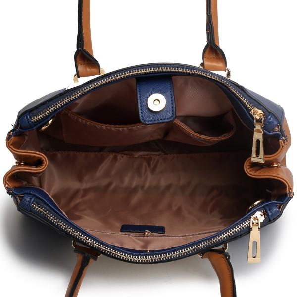 LM1643 - Miss Lulu Sutton Center Stripe Satchel Handbag Navy