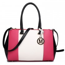 LM1643 - Miss Lulu Sutton Center Stripe Satchel Handbag Plum