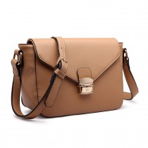 LM1647 - Miss Lulu Textured Leather Look Cross Body Bag Brown