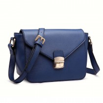 LM1647 - Miss Lulu Textured Leather Look Cross Body Bag Navy