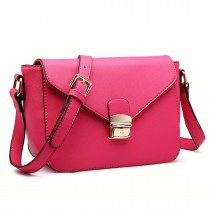 LM1647 - Miss Lulu Textured Leather Look Cross Body Bag Plum