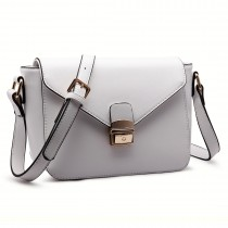 LM1647 - Miss Lulu Textured Leather Look Cross Body Bag White