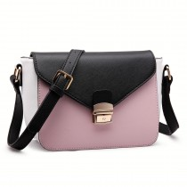 LM1648 - Miss Lulu Textured Leather Look Tricolour Cross Body Bag Pink
