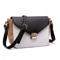 LM1648 - Miss Lulu Textured Leather Look Tricolour Cross Body Bag White