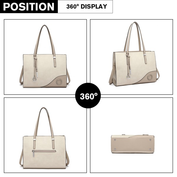 LN1909 - Miss Lulu Glossy Detail Shoulder Bag - Beige