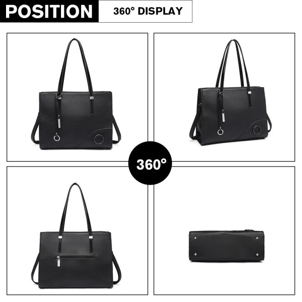 LN1909 - Miss Lulu Glossy Detail Shoulder Bag - Black