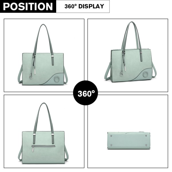 LN1909 - Miss Lulu Glossy Detail Shoulder Bag - Green