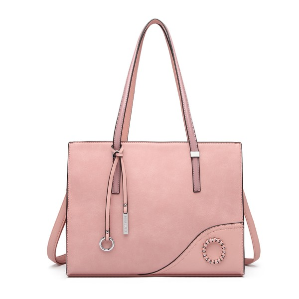 LN1909 - Miss Lulu Glossy Detail Shoulder Bag - Pink