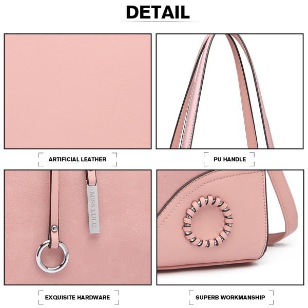 LN1909-Miss Lulu Schultertasche mit Glänzend Detail Pink