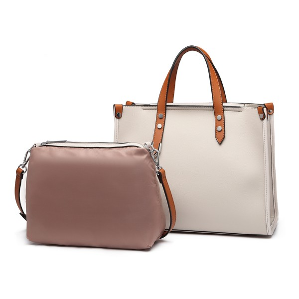 LN1910 - Miss Lulu Structured 2 Piece Shoulder Bag Set - Beige