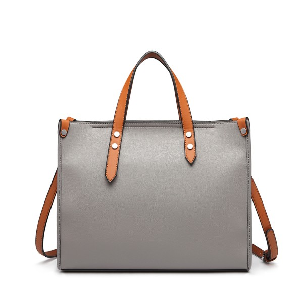 LN1910 - Miss Lulu Structured 2 Piece Shoulder Bag Set - Grey