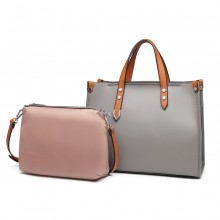LN1910 - Miss Lulu Structured 2 Piece Shoulder Bag Set - Grey