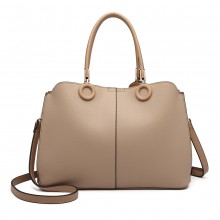 LN6847 - Miss Lulu Leather Look Ring Detail Shoulder Bag - Apricot