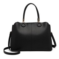 LN6847-MISS LULU PU LEATHER MULTI-CAPACITY HANDBAG SHOULDER BAG BLACK