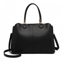 LN6847 - Miss Lulu Leather Look Ring Detail Shoulder Bag - Black