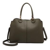 LN6847-MISS LULU PU LEATHER MULTI-CAPACITY HANDBAG SHOULDER BAG GREEN