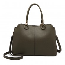 LN6847 - Miss Lulu Leather Look Ring Detail Shoulder Bag - Green