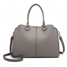 LN6847 - Miss Lulu Leather Look Ring Detail Shoulder Bag - Grey
