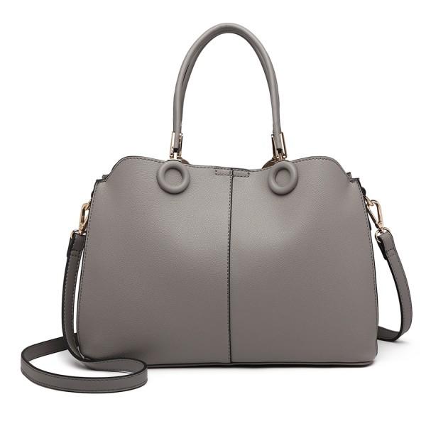 LN6847 - Miss Lulu Leather Look Ring Detail Shoulder Bag - Grey