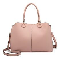 LN6847-MISS LULU PU LEATHER MULTI-CAPACITY HANDBAG SHOULDER BAG PINK