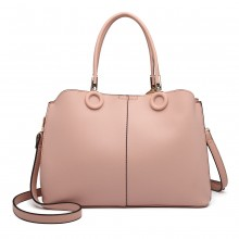 LN6847 - Miss Lulu Leather Look Ring Detail Shoulder Bag - Pink