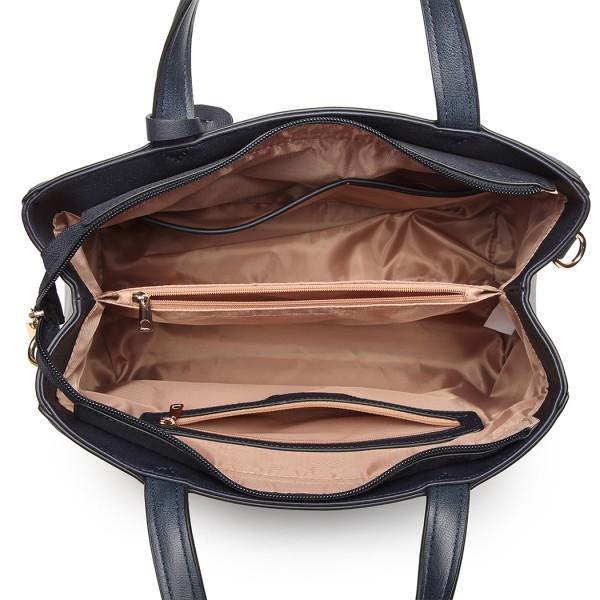 LN6848 - Miss Lulu Matte Effect Leather Look Handbag - Blue