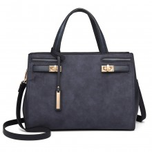 LN6848 - Miss Lulu Matte Effect Leather Look Handbag - Blue