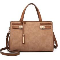 LN6848-MISS LULU MATTE LEATHER STYLISH HANDBAG SHOULDER BAG BROWN