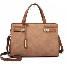 LN6848 - Miss Lulu Matte Effect Leather Look Handbag - Brown