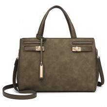 LN6848 - Miss Lulu Matte Effect Leather Look Handbag - Green