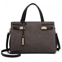 LN6848 - Miss Lulu Matte Effect Leather Look Handbag - Grey/Black