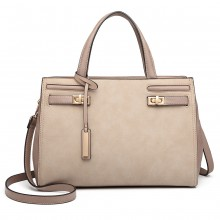 LN6848 - Miss Lulu Matte Effect Leather Look Handbag - Grey