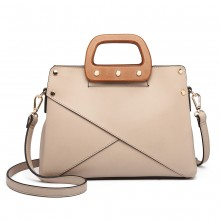 LN6849 - Miss Lulu Leather Look Handbag with Wooden Handles - Apricot