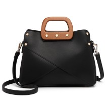 LN6849-MISS LULU LEATHER HANDBAG WOODEN HANDLE TOTE SHOULDER BAG BLACK