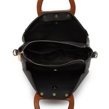 LN6849-MISS LULU LEATHER HANDBAG WOODEN HANDLE TOTE SHOULDER BAG BLACK
