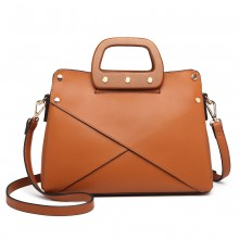 LN6849-MISS LULU LEATHER HANDBAG WOODEN HANDLE TOTE SHOULDER BAG BROWN