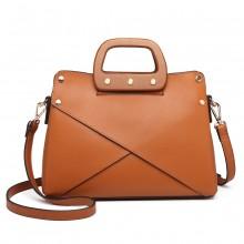 LN6849 - Miss Lulu Leather Look Handbag with Wooden Handles - Brown