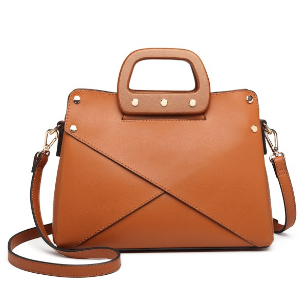 LN6849 - Miss Lulu Leather Look Handbag with Wooden Handles - Brown