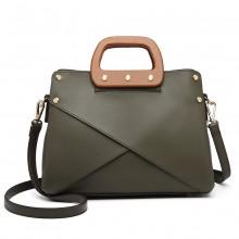 LN6849 - Miss Lulu Leather Look Handbag with Wooden Handles - Green
