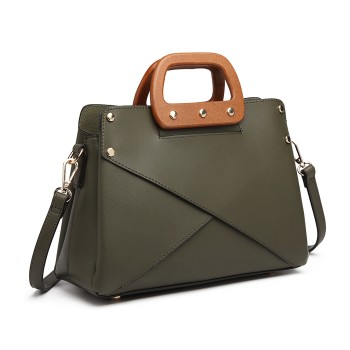 LN6849-MISS LULU LEATHER HANDBAG WOODEN HANDLE TOTE SHOULDER BAG GREEN