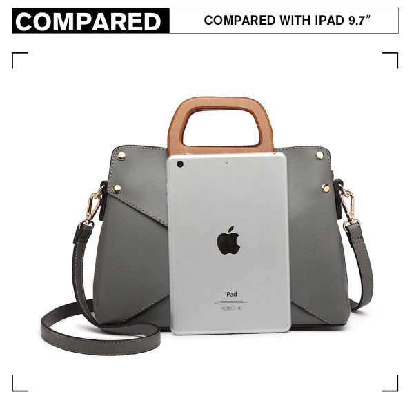 LN6849 - Miss Lulu Leather Look Handbag with Wooden Handles - Grey