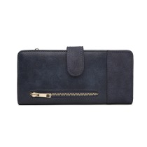LN6883-MISS LULU PU CUERO CIERRE POPPER LONG PURSE BLUE